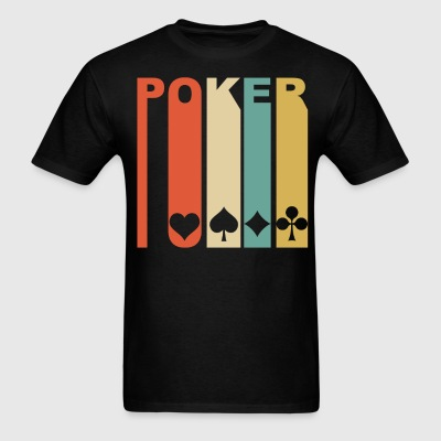 Retro 1970's Style Playing Card Suits Silhouette - Men's T-Shirt