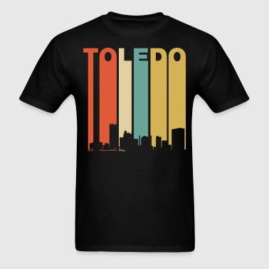 Retro Toledo Ohio Cityscape Downtown Skyline - Men's T-Shirt