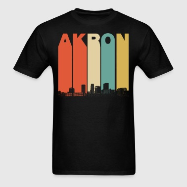 Vintage 1970's Style Akron Ohio Skyline - Men's T-Shirt