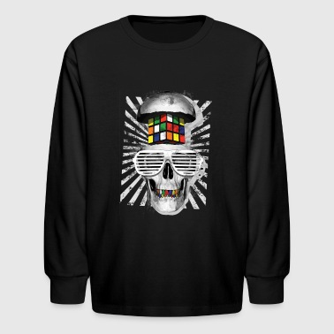 Rubik's Cube Skull With Sunglasses - Kids' Long Sleeve T-Shirt