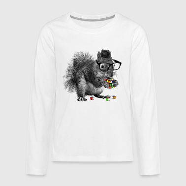 Rubik's Cube Hipster Squirrel - Kids' Premium Long Sleeve T-Shirt