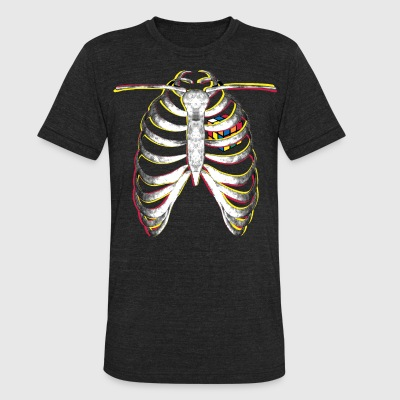 Rubik's Cube Colourful Ribcage - Unisex Tri-Blend T-Shirt by American Apparel