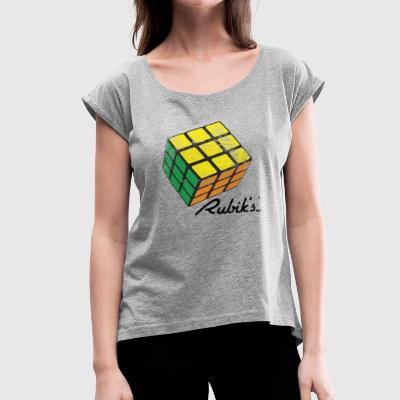 Rubik's Cube Solved Colourful Vintage - Women's Roll Cuff T-Shirt