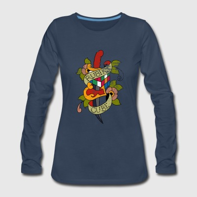 Rubik's Cube Colorful Tattoo Distressed - Women's Premium Long Sleeve T-Shirt