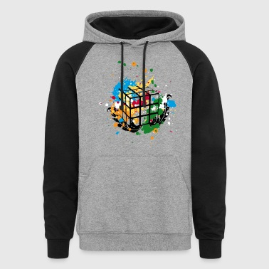 Rubik's Cube Colourful Splatters - Colorblock Hoodie
