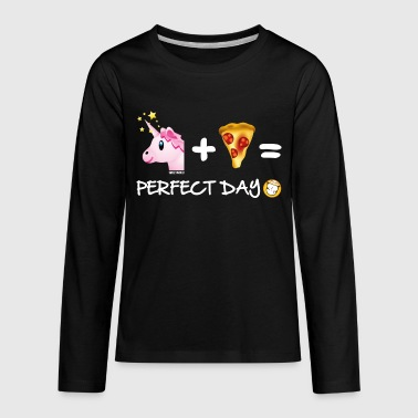 SmileyWorld Unicorn Plus Pizza Equals Perfect Day - Kids' Premium Long Sleeve T-Shirt