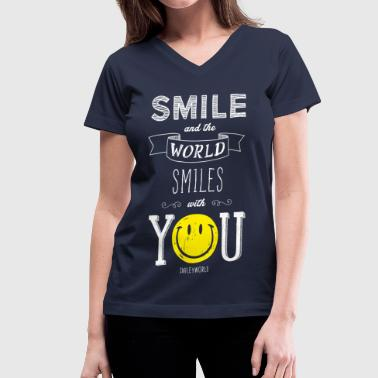 SmileyWorld Smile And The World Smiles With You - Women's V-Neck T-Shirt