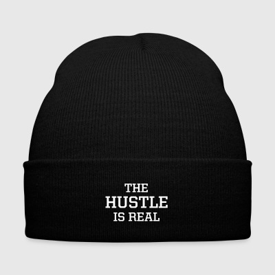 The Hustle Is Real Beanie - Knit Cap with Cuff Print