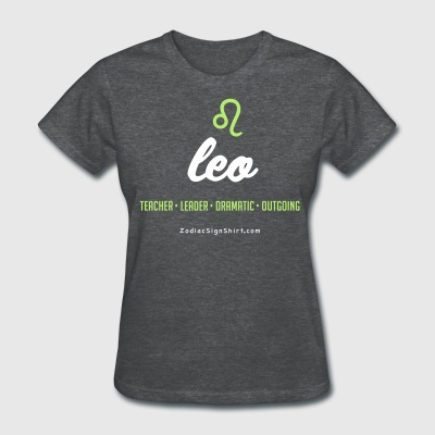 Leo Script Zodiac - Women's White, Green and Dark  - Women's T-Shirt