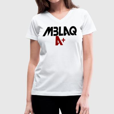 MBLAQ A+ in Black/Red Women's V-Neck - Women's V-Neck T-Shirt