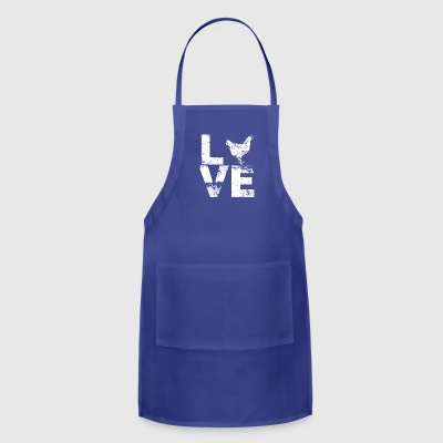 I Love Chickens Distressed Design - Adjustable Apron