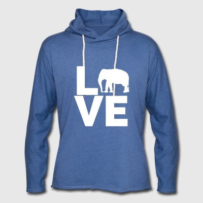 I Love Elephants Design - Unisex Lightweight Terry Hoodie