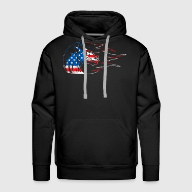 Hair Horse Merica Flag Independence Day - Men's Premium Hoodie
