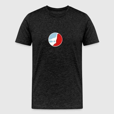 sport logo red blue round outline night moon werew T-Shirts - Men's Premium T-Shirt