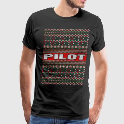 Pilot Ugly Christmas Sweater T-Shirts - Men's Premium T-Shirt