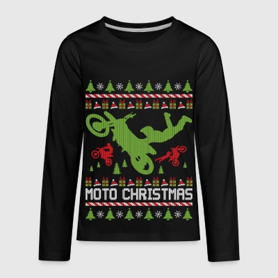Moto Christmas Supercross Kids' Shirts - Kids' Premium Long Sleeve T-Shirt