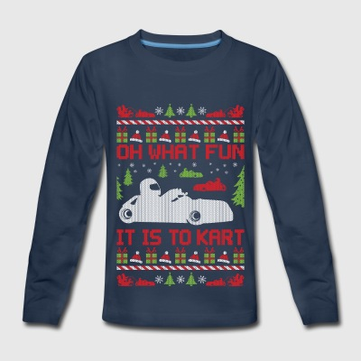 Ugly Christmas Go Kart Kids' Shirts - Kids' Premium Long Sleeve T-Shirt