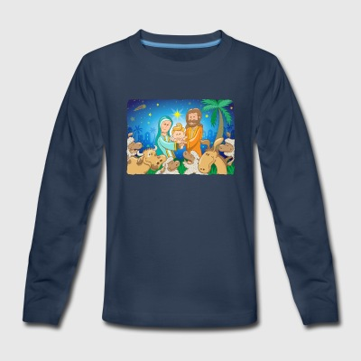 Sweet scene of the nativity of baby Jesus Kids' Shirts - Kids' Premium Long Sleeve T-Shirt
