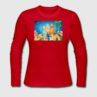 Sweet scene of the nativity of baby Jesus Long Sleeve Shirts - Women's Long Sleeve Jersey T-Shirt