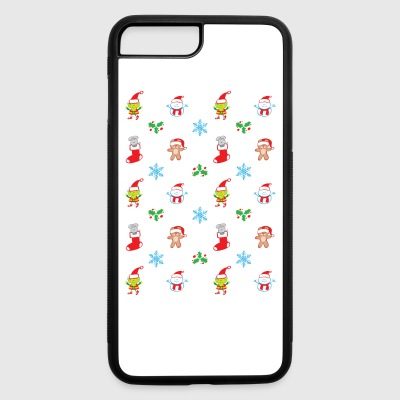 Teddy, mouse elf and snowman Christmas pattern Phone & Tablet Cases - iPhone 7 Plus/8 Plus Rubber Case