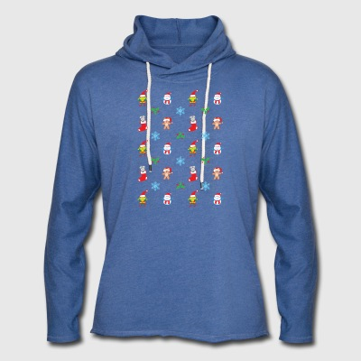 Teddy, mouse elf and snowman Christmas pattern Hoodies - Unisex Lightweight Terry Hoodie