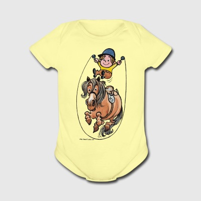 Thelwell Funny Rope Jumping Horse And Rider - Short Sleeve Baby Bodysuit
