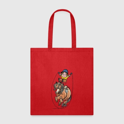 Thelwell Funny Rope Jumping Horse And Rider - Tote Bag