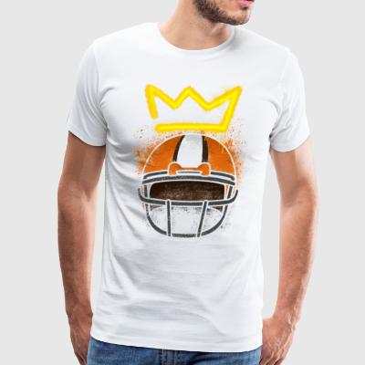 distressed crown above brown football helmet  - Men's Premium T-Shirt