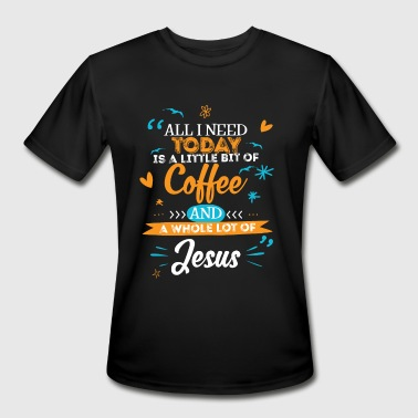 a little bit of Coffee and a whole lot of Jesus - Men's Moisture Wicking Performance T-Shirt
