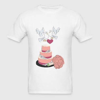 wedding cake and pigeons - Men's T-Shirt