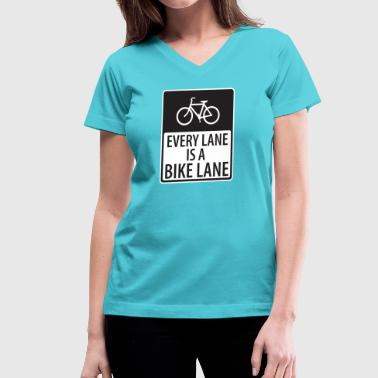 every lane is a bike lane shirt - Women's V-Neck T-Shirt