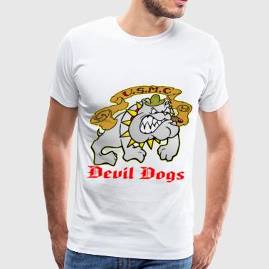 Devil Dogs Bulldog  ©WhiteTigerLLC.com  - Men's Premium T-Shirt