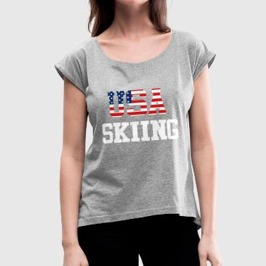 Trendy Cool Sports | USA Skiing Athlete American T-Shirts - Women's Roll Cuff T-Shirt