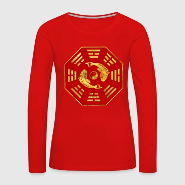 Luxury  Red on gold Pair of Koi Fish in Bagua Long Sleeve Shirts - Women's Premium Long Sleeve T-Shirt