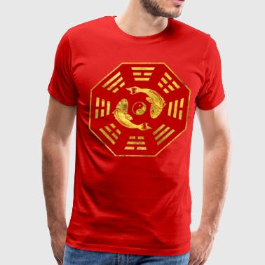 Luxury  Red on gold Pair of Koi Fish in Bagua T-Shirts - Men's Premium T-Shirt