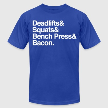 Men's T - Deadlifts & Squats & Bench Press & Bacon - Men's Fine Jersey T-Shirt