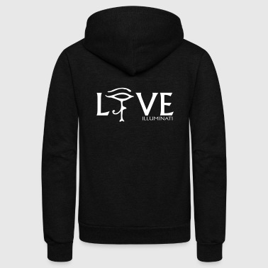Illuminati Live Love Zip Hoodies/Jackets - Unisex Fleece Zip Hoodie by American Apparel