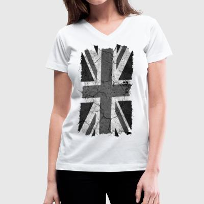 Grunge Monochrome Union Jack UK Flag T-Shirt - Women's V-Neck T-Shirt