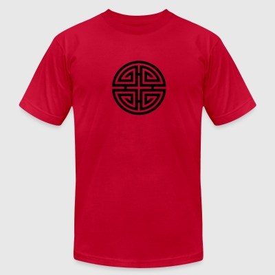 Four blessings, Chinese Good Luck Symbol, Charms T-Shirts - Men's T-Shirt by American Apparel