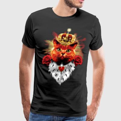 Red Cat King Queen Crown Roses Love Heart T-Shirt - Men's Premium T-Shirt
