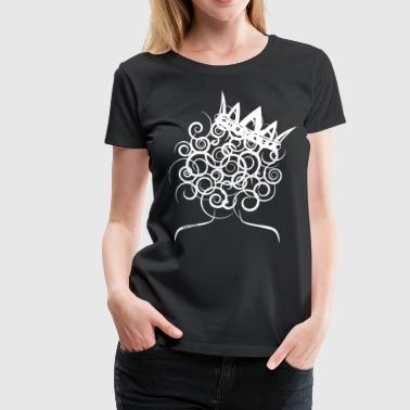 Curly Queen with Crown_ GlobalCouture Women's T-Sh - Women's Premium T-Shirt