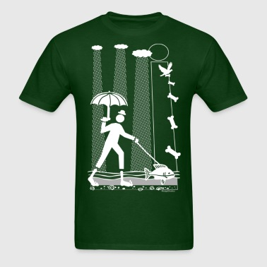 Rainy Walk with the Dog Fish - Men's T-Shirt