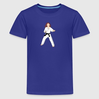 Martial Arts brown hair girl I Love Karate T shirt - Kids' Premium T-Shirt