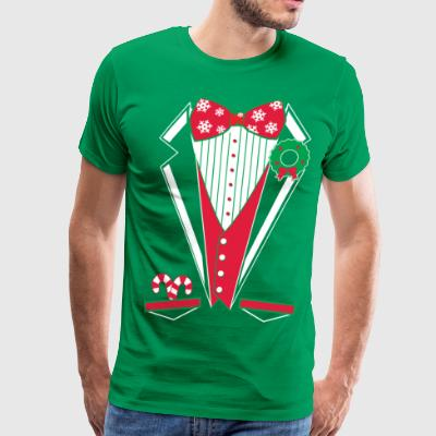 Merry Christmas Tuxedo T Shirt (Green) - Men's Premium T-Shirt