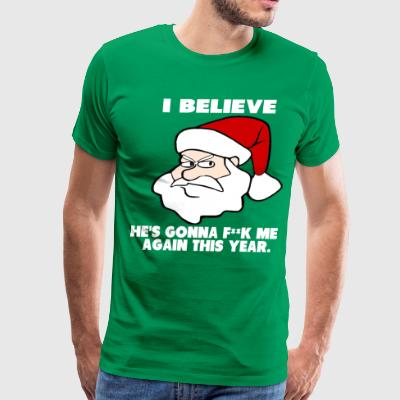 Santa - I Believe edited white T-Shirts - Men's Premium T-Shirt