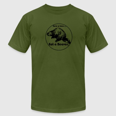 Mens Save A Tree, Eat A Beaver - Men's T-Shirt by American Apparel