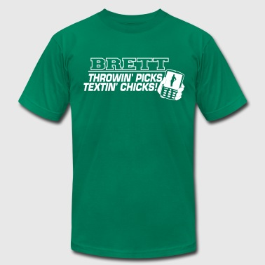 Brett Throwin Picks Textin Chicks - Men's Fine Jersey T-Shirt