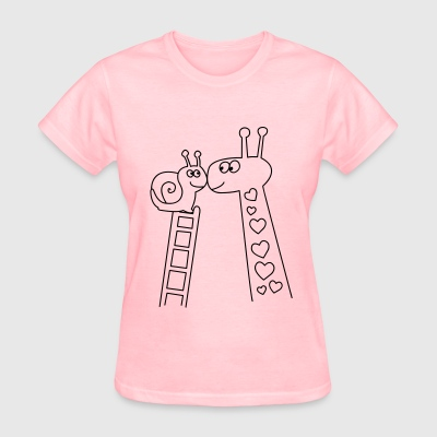 Giraffe and Snail Valentines day t-shirts - Women's T-Shirt