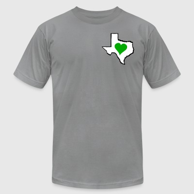 Texas Green Heart - Men's T-Shirt by American Apparel