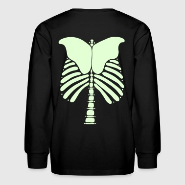 Skeleton Bones Glow in the Dark: Front & Back Kids Long Sleeve T-Shirt - Kids' Long Sleeve T-Shirt